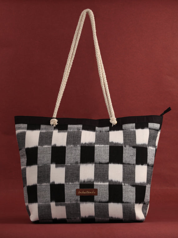 Black & White Ikat Tote Bag - B0806