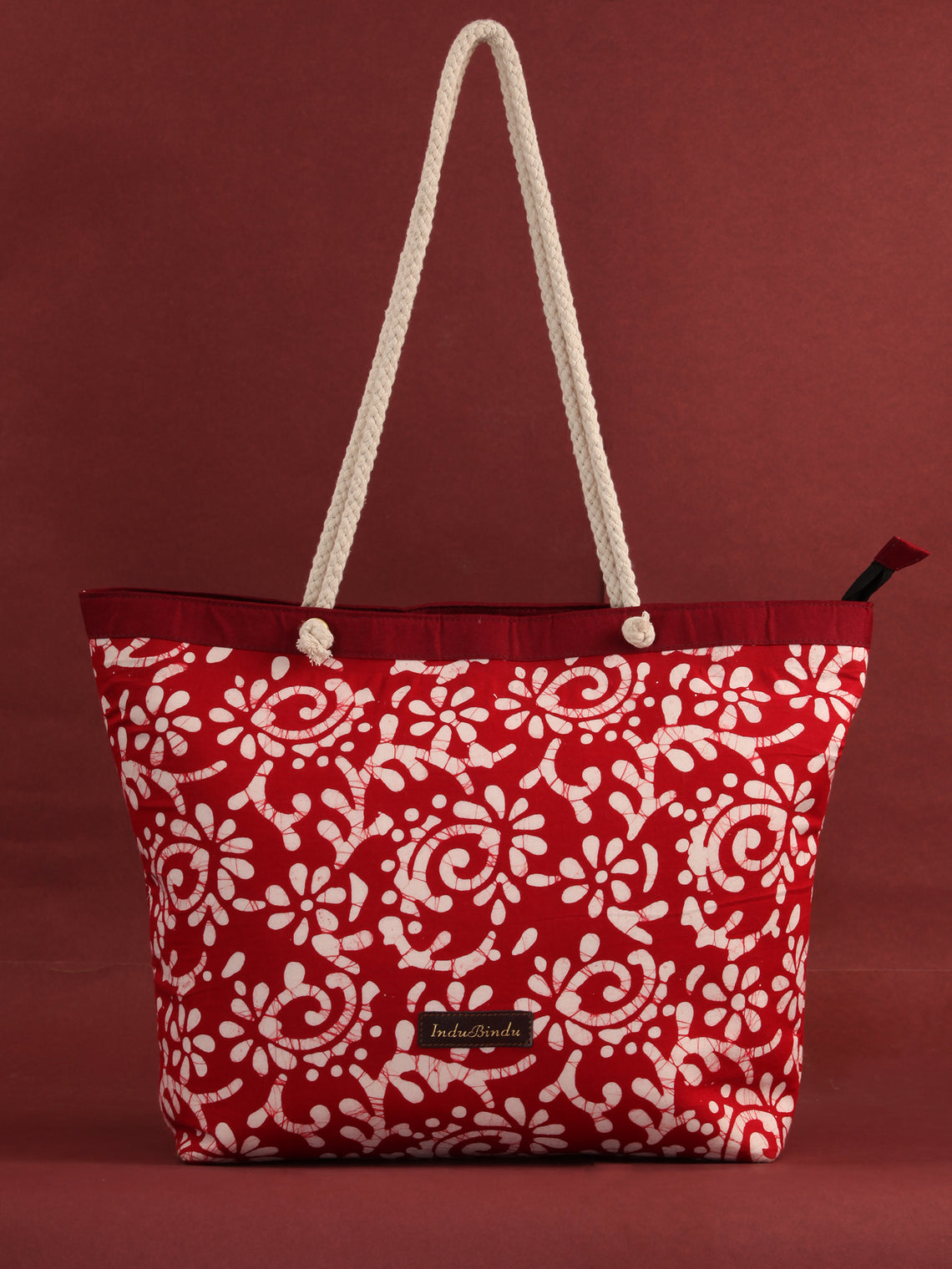 Red White Hand Block Printed Tote Bag - B0808