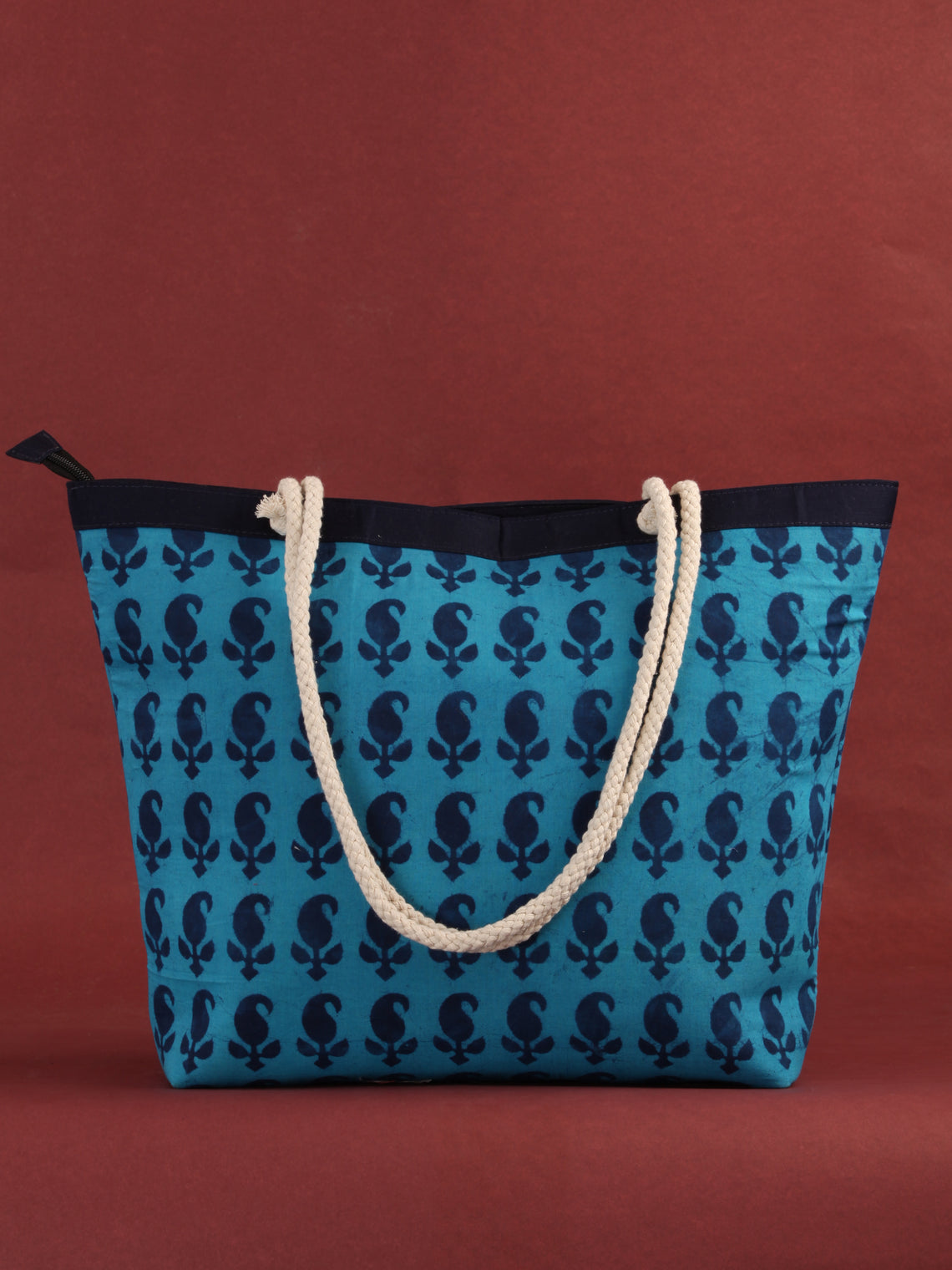 Blue Hand Block Printed Tote Bag - B0809