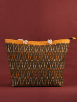 Mustard Brown Ikat Tote Bag - B0810