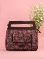 Maroon Black Ajrakh Hand Block Print Baguette Bag with Vegan Leather Top Handles - B0902
