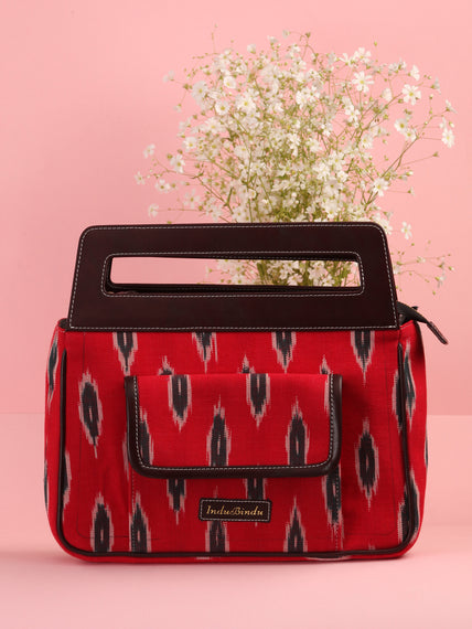 Red Ikat Baguette Bag with Vegan Leather Top Handles - B0904