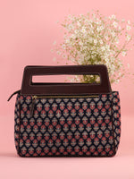 Navy Red Ajrakh Hand block Printed Baguette Bag with Vegan Leather Top Handles - B0909