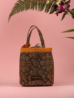Black Olive Ajrakh Block Printed Bucket Utility Bag - B0202