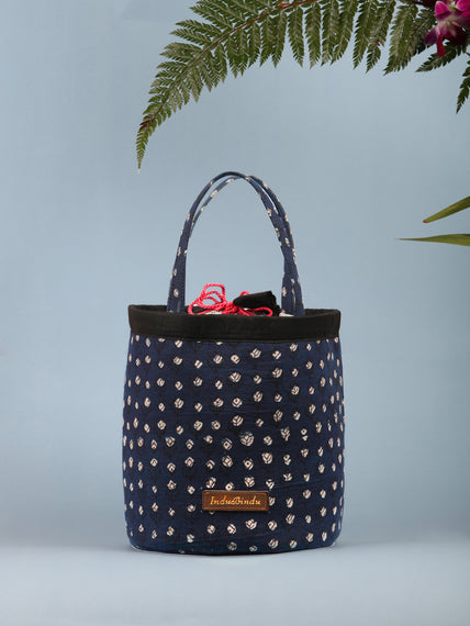 Indigo Black Ajrakh Block Printed Bucket Utility Bag - B0204