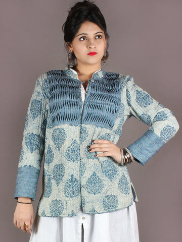 Indigo Ivory Hand Block Dabu Printed Jacket With Anchor Embroidery - J0138906