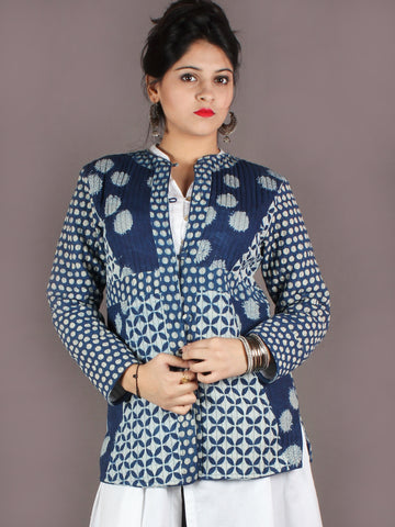 Indigo White Hand Block Dabu Printed Jacket With Anchor Embroidery - J0144907