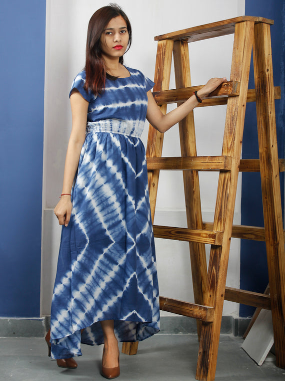 Indigo White Tie And Dye Cotton High Low Dress With Elasticated Waist  - DS48F001