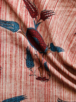Beige Red Maroon Blue Brown Hand Brush Printed Cotton Fabric Per Meter - F001F1554