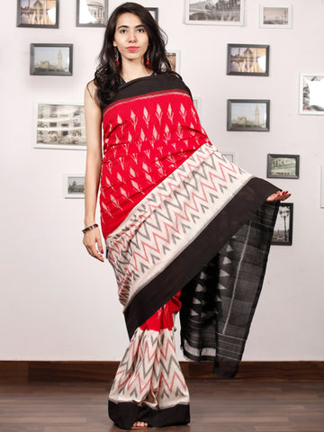 Black Ivory Grey Coral Ikat Handwoven Pochampally Mercerized Cotton Saree - S031703385