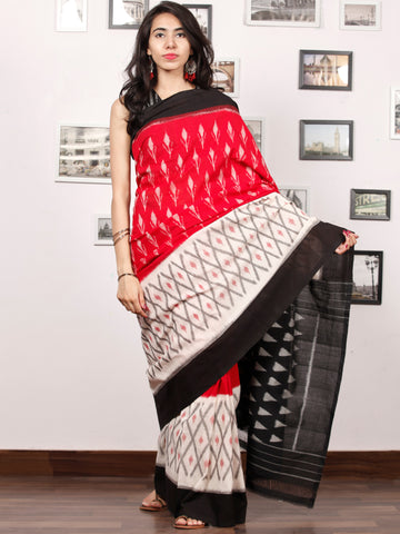 Black Ivory Grey Coral Ikat Handwoven Pochampally Mercerized Cotton Saree - S031703386