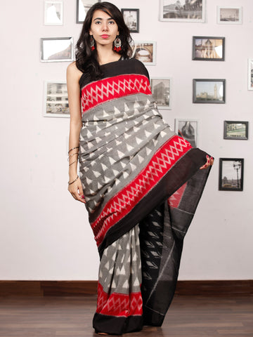 Black Ivory Grey Coral Ikat Handwoven Pochampally Mercerized Cotton Saree - S031703387