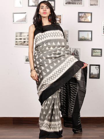 Copy of Black Ivory Grey Ikat Handwoven Pochampally Mercerized Cotton Saree - S031703388