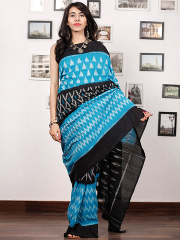 Blue Black Grey Ikat Handwoven Pochampally Mercerized Cotton Saree - S031703394