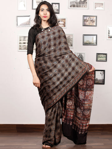 Black Maroon Grey Indigo Ajrakh Hand Block Printed Modal Silk Saree in Natural Colors - S031703377
