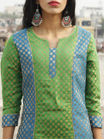 Blue Green Golden Brocade Kurta With Side Slit With Lining - D132F001