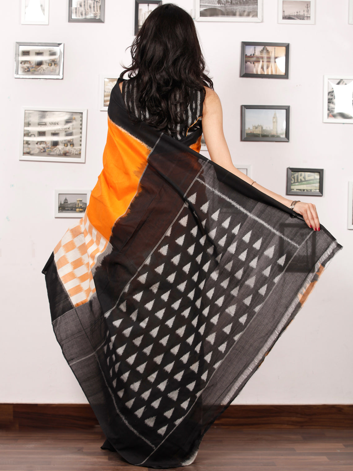 Black Orange White Ikat Handwoven Pochampally Mercerized Cotton Saree - S031703399