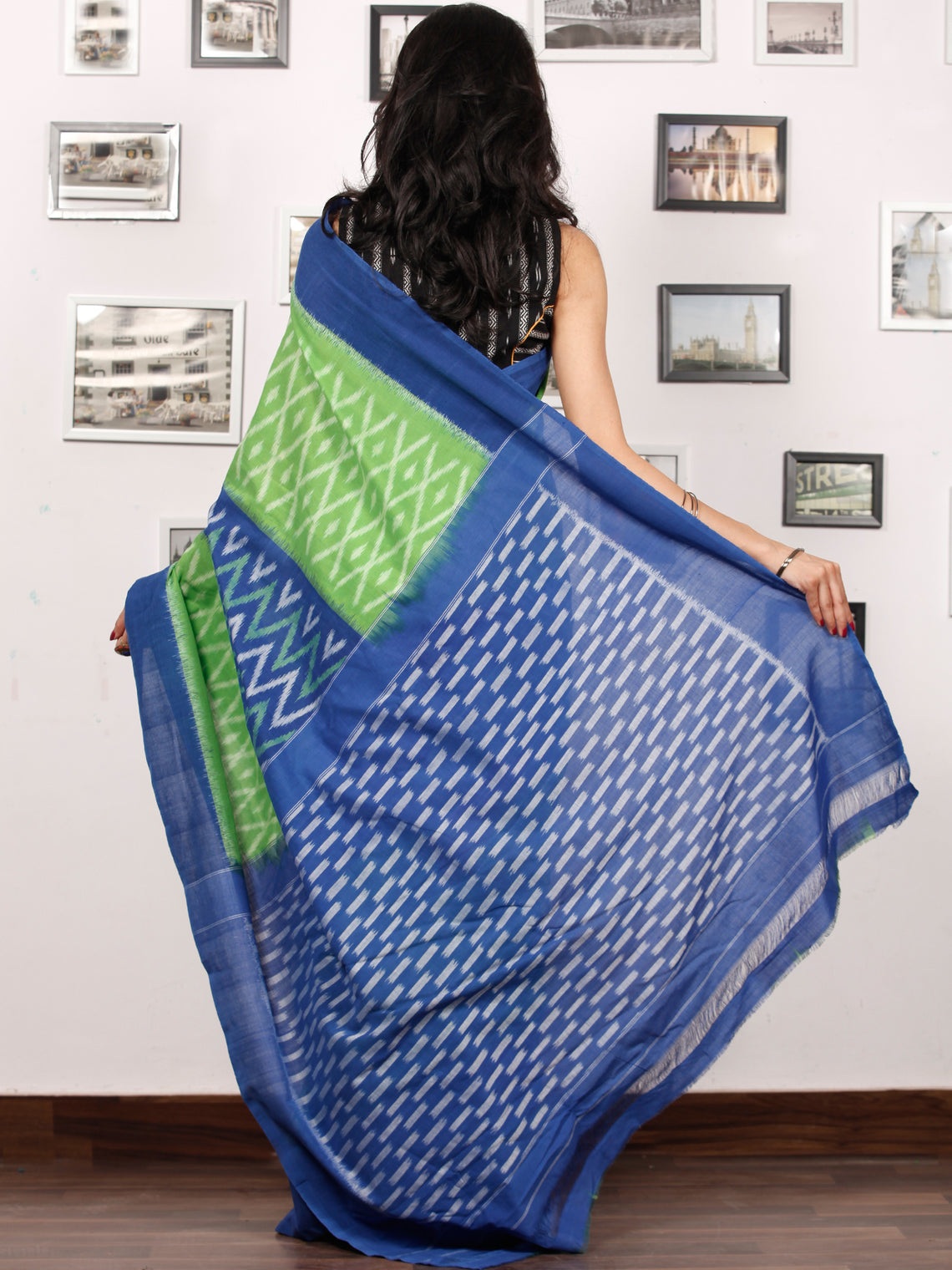 Green Blue White Ikat Handwoven Pochampally Mercerized Cotton Saree - S031703400
