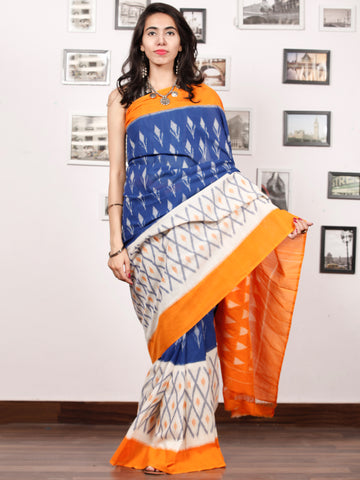 Blue Orange White Grey Ikat Handwoven Pochampally Mercerized Cotton Saree - S031703401