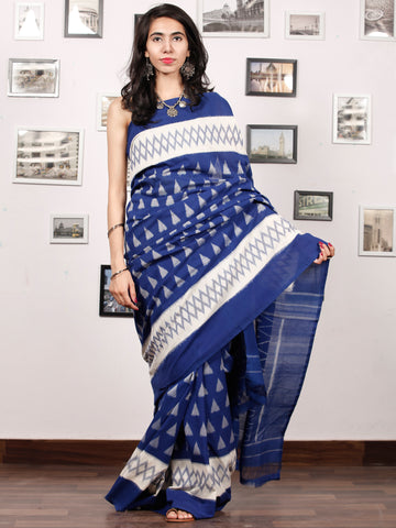 Blue White Grey Ikat Handwoven Pochampally Mercerized Cotton Saree - S031703402