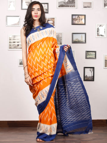 Blue Orange White Handwoven Pochampally Mercerized Cotton Saree - S031703408