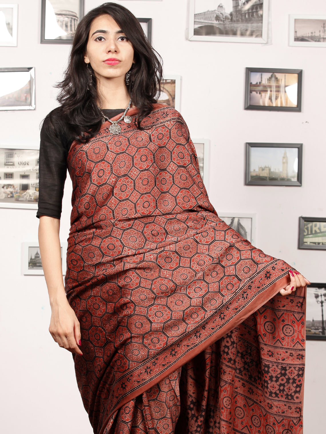 Rust Red Black Ajrakh Hand Block Printed Modal Silk Saree in Natural Colors - S031703379