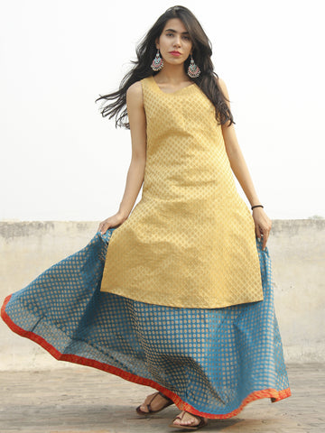 Golden Kurta with Cerulean Blue Skirt with Red Border (Set of two) - D131F001