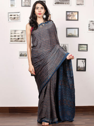 Indigo Rust Black Ajrakh Hand Block Printed Modal Silk Saree in Natural Colors - S031703380