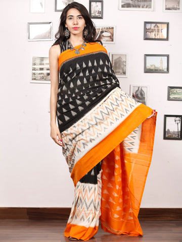 Black White Grey Peach Ikat Handwoven Pochampally Mercerized Cotton Saree - S031703389