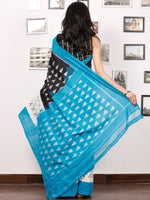 Black White Grey Sky Blue Ikat Handwoven Pochampally Mercerized Cotton Saree - S031703382