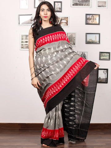 Black White Grey Coral Ikat Handwoven Pochampally Mercerized Cotton Saree - S031703383