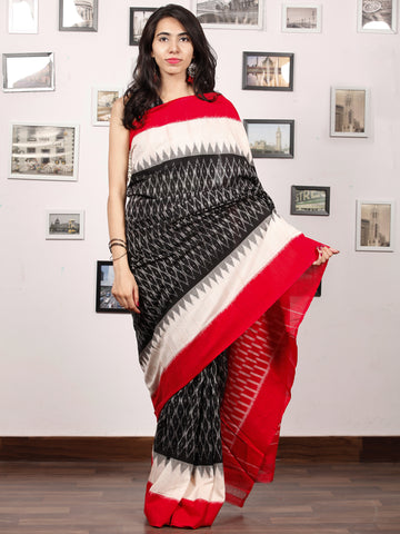 Black White Grey Red Ikat Handwoven Pochampally Mercerized Cotton Saree - S031703384