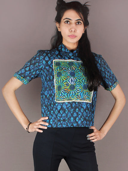 Indigo Black Sky Blue Green Hand Block Printed Cotton Crop Top - T11640020