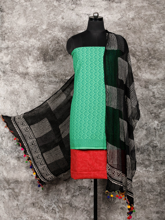 Green Red Black White Hand Block Printed Cotton Suit-Salwar Fabric With Chiffon Dupatta (Set of 3) - SU01HB323