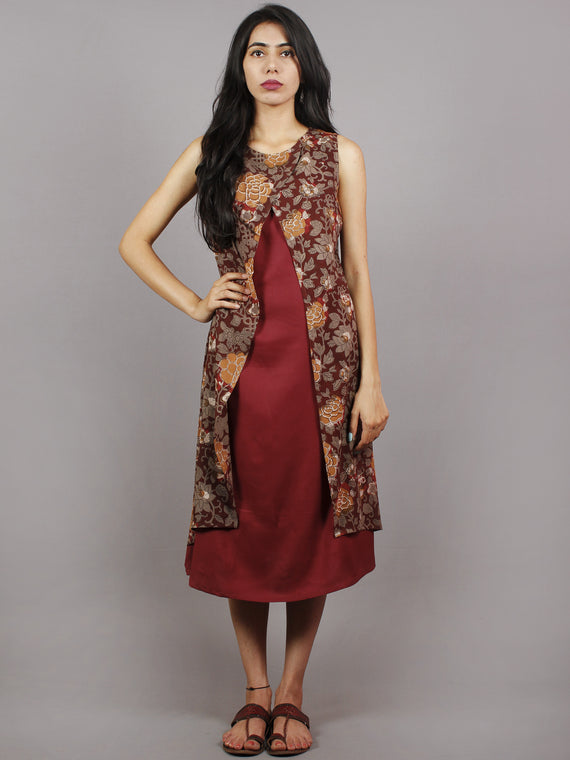 Maroon Brown Black Hand Block Printed Cotton & Rayon Sleeveless Dress  - D4361201