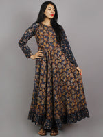 Indigo Maroon Black Brown White Hand Block Printed Long Cotton Dress With Gather - D0660216