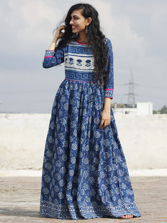 Indigo Ivory Magenta Hand Block Printed Long Dress With Gathers -  DS16F001
