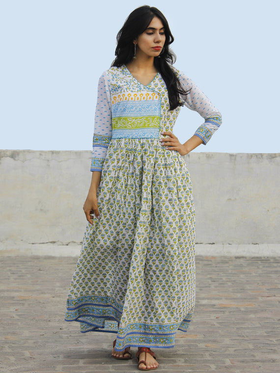 White Green Light Blue Hand Block Printed Angrakha Dress With Gathers -  DS11F004