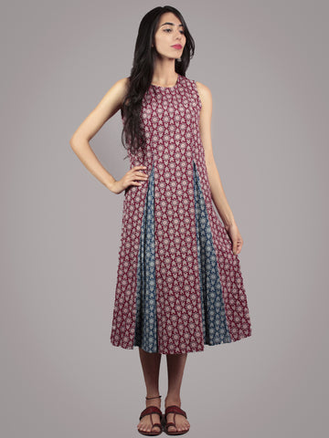 Plum, Indigo, Black, Ivory Hand Block Ajrakh Printed Cotton Sleeveless Dress  - D5767801