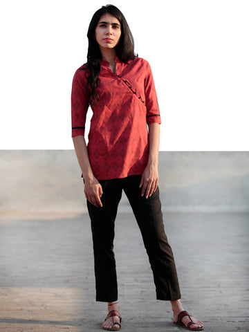 Red Black Hand Block Printed Cotton Top With Stand Collar- T35F461