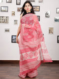 Pink White Hand Block Printed Kota Doria Saree in Natural Colors - S031703133
