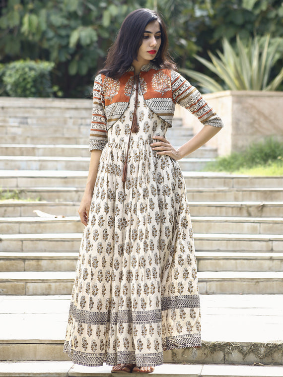 Ivory Rust Mustard Black Hand Block Printed Long Cotton Dress with Gathers & Tassels - DS14F002