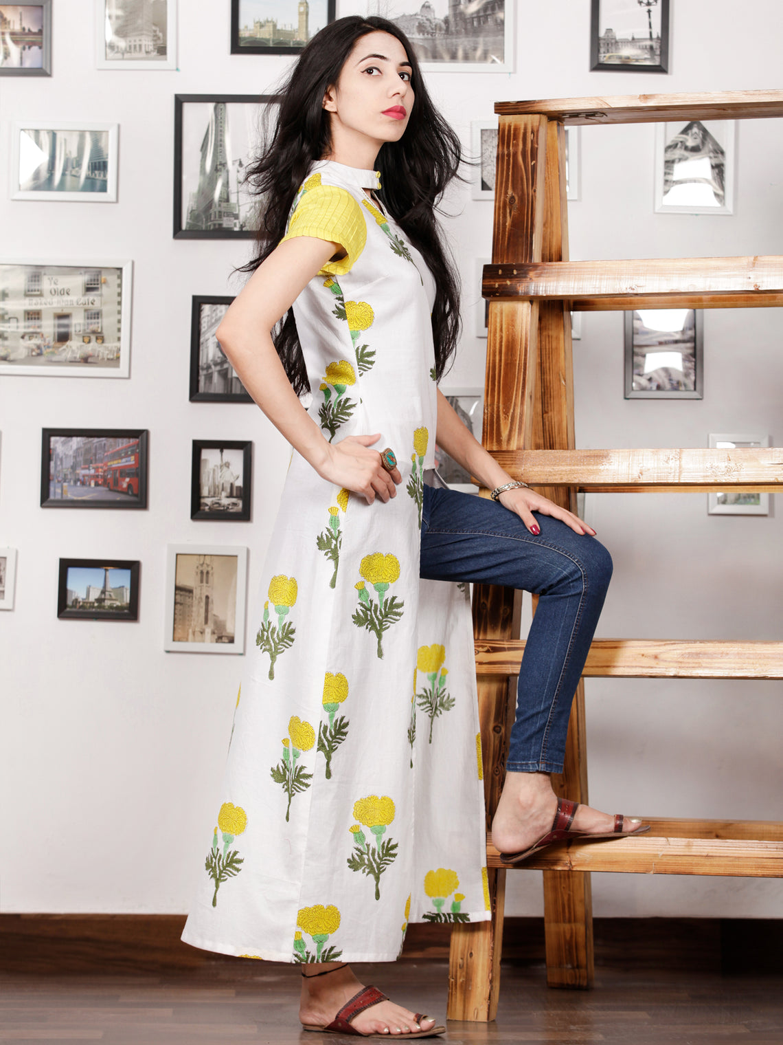 White Yellow Green Hand Block Printed Long Kurta in Natural Colors - K102F1501