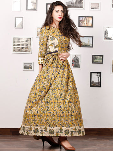 MUSTARD SPRING - Hand Block Printed Cotton Long Dress With Gathers - D318F1309