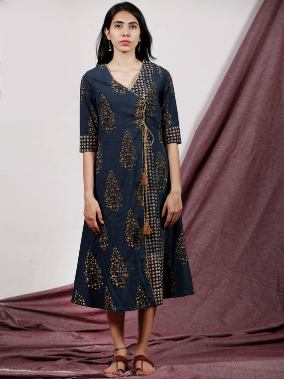 Indigo Mustard Brown Hand Block Printed Dress With Angrakha Style - D232F1315