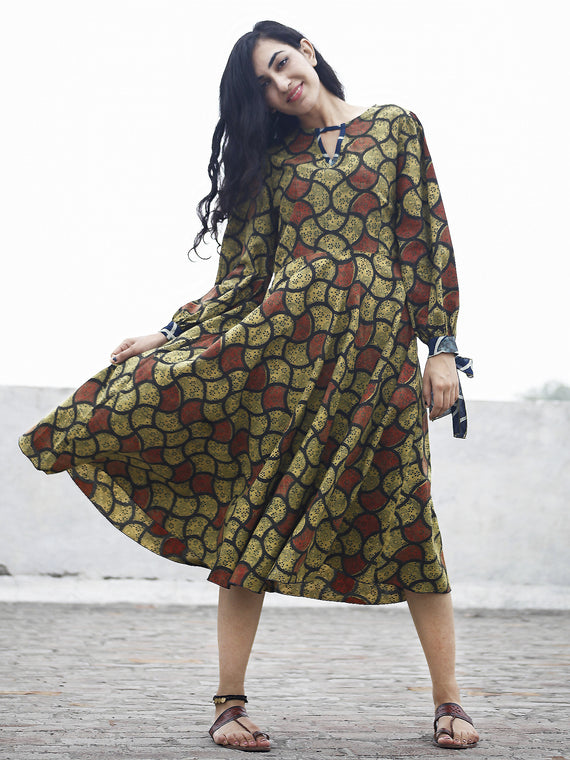 Olive Green Rust Indigo Black Ajrak Printed Cotton Dress With Tie-Up Sleeve - D80F641