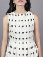 Ivory Black Long Sleeveless Handwoven Double Ikat Dress With Knife Pleats & Side Pockets - D3266104