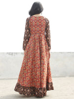 Red Black Mustard Indigo Ivory  Long Hand Block Printed Cotton Dress With Frills  - D06F888