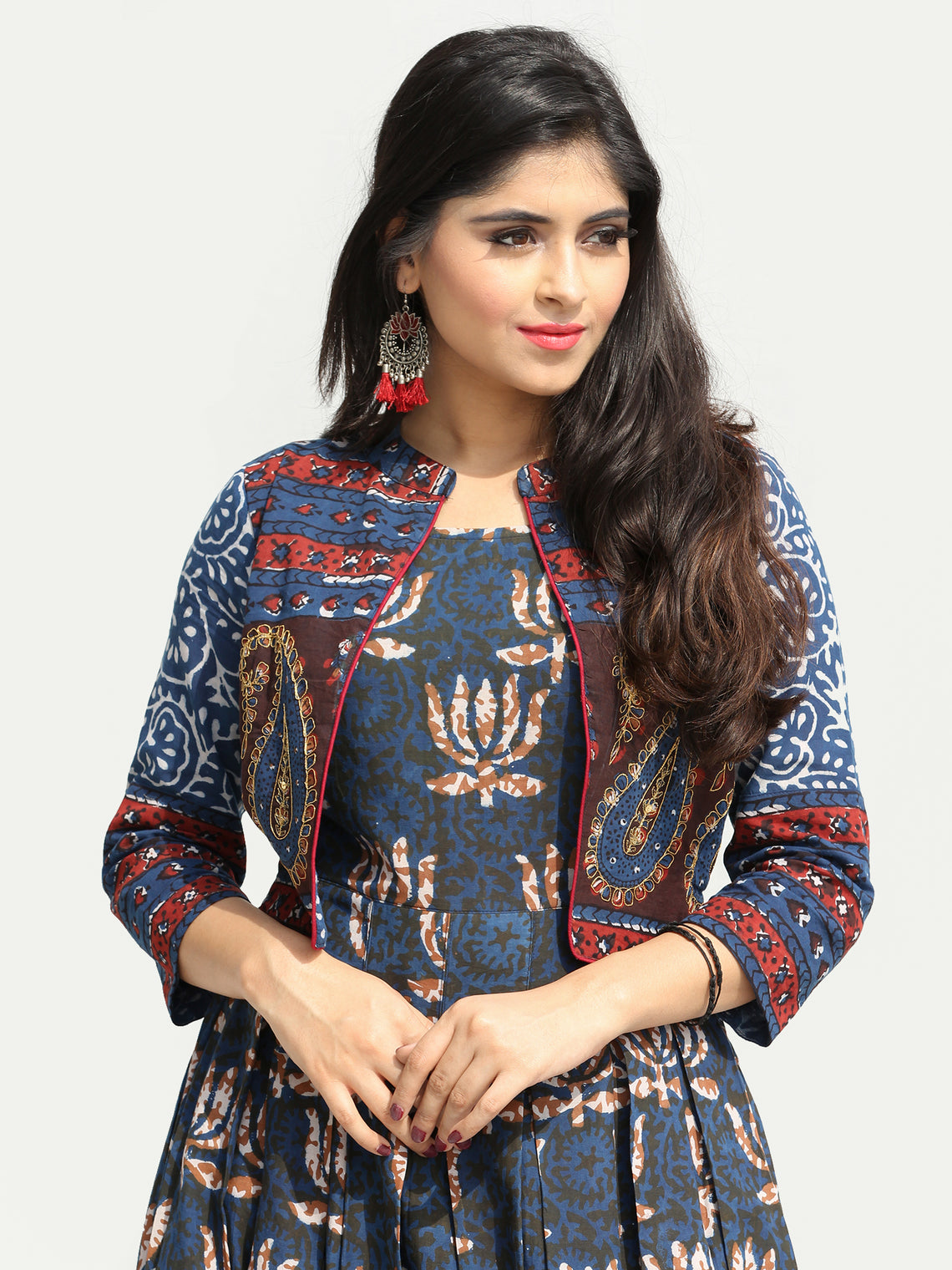 Naaz Roheen - Hand Block Printed Long Cotton Box Pleated Embroidered Jacket Dress - DS98F003