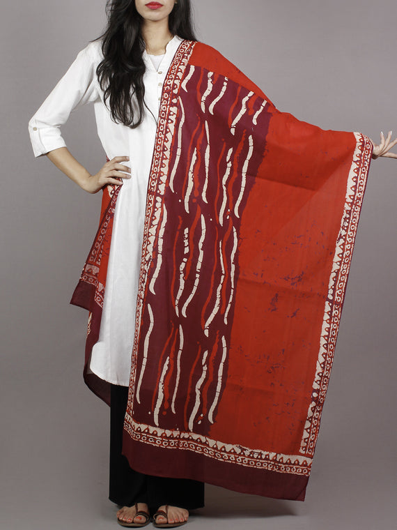 Red Maroon Ivory Mughal Nakashi Ajrakh Hand Block Printed Cotton Stole - S63170169